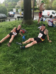Jill Barton and Gareth Hunt chill out after a hard run on  Leg 5